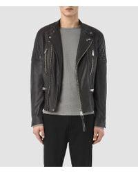 AllSaints - Gray Slade Biker Jacket for Men - Lyst