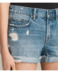 AllSaints | Blue Pam Denim Shorts | Lyst