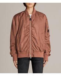 AllSaints - Brown Myra Bomber Jacket - Lyst