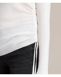 AllSaints - White Vana V Neck Jumper - Lyst