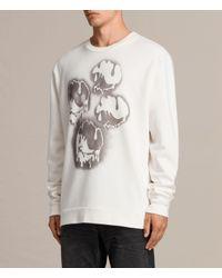 AllSaints - White Good Times Crew Sweatshirt for Men - Lyst