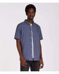 AllSaints - Blue Huntingdon Short Sleeve Shirt for Men - Lyst