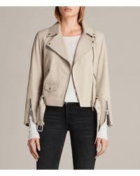 AllSaints - Multicolor Cole Leather Biker Jacket - Lyst