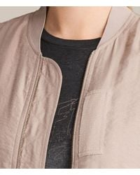 AllSaints - Pink Angie Light Bomber Jacket - Lyst