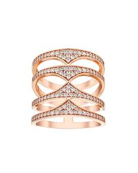 Amanda Wakeley | Pink Rebel Rose Gold Quadruple Ring | Lyst