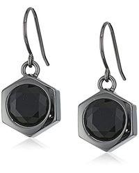"Nicole Miller - Black ""artelier"" Hex Drop Earrings - Lyst"
