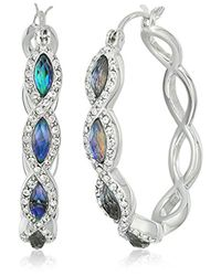 Judith Jack - Metallic Sterling Silver And Abalone Hoop Earrings - Lyst