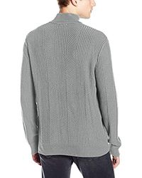 Calvin Klein - Gray Mixed Texture Quarter Zip Sweater for Men - Lyst