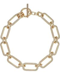 Michael Kors - Metallic S Iconic Pave Link Statement Necklace - Lyst