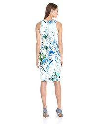 Calvin Klein - White Print Halter Dress With Bar Hardware - Lyst