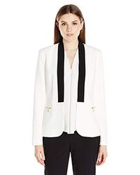 Calvin Klein - White Jacket With Rib Trim - Lyst