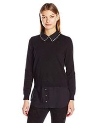 Vince Camuto - Black Long Sleeve Mix-media Sweater - Lyst