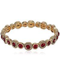 Napier - Red Stone Stretch Bracelet, Gold Red - Lyst