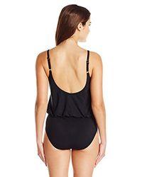 Gottex - Black V-neck Blouson One Piece Swimsuit - Lyst