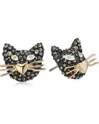 Betsey Johnson - Metallic S Gold And Hematite Cat Stud Earrings - Lyst