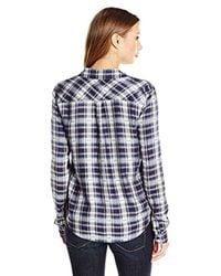 PAIGE - Mya Plaid Shirt-dark Ink Blue/bering Sea - Lyst