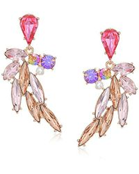 Betsey Johnson - Pink S Flamingo Multi Stone Feather Earrings - Lyst