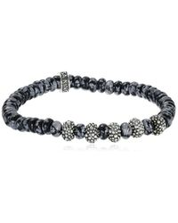 King Baby Studio - Metallic 6.5mm Snowflake Agate Five Stingray Beads Stretch Bracelet for Men - Lyst