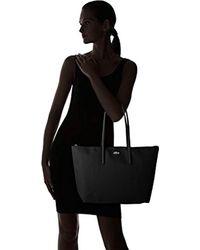 Sac Cabas Toile Pvc Femme, Bandouliere Lacoste en coloris Black