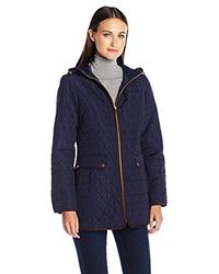 Jones New York - Blue Split Diamond Quilt Jacket - Lyst