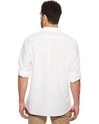 CALVIN KLEIN 205W39NYC White Long Sleeve Button Down Linen Shirt 2 Pocket for men