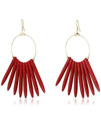 Kenneth Jay Lane - Multicolor Gold Hoop With Coral Sticks Fishhook Drop Earrings - Lyst