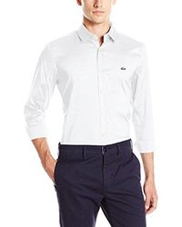 Lacoste - City Long Sleeve Stretch Solid Poplin Woven Shirt, White, 45 for Men - Lyst