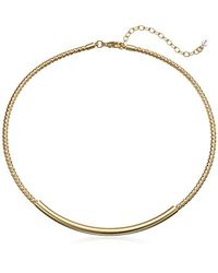 "Napier - Metallic Gold-tone Textured Collar Necklace, 12"" + 3"" Extender - Lyst"