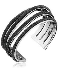 Cole Haan - Black Leather Items Inlay Wavy Cuff Bracelet - Lyst