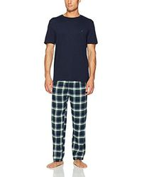 Nautica - Blue Short Sleeve Top And Soft Flannel Pajama Pant Pj Set,navy,large for Men - Lyst