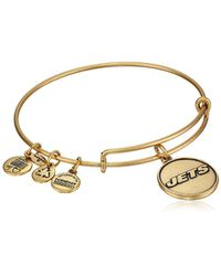"ALEX AND ANI - Metallic ""nfl New York Jets Logo Expandable Wire Rafaelian Gold-tone Bangle Bracelet, 7.5"" - Lyst"