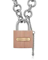 Michael Kors - Multicolor Tri Tone Ridged Padlock Link Statement Locket Necklace - Lyst