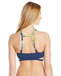 Lucky Brand - Blue Half-moon Tie-dye High-neck Bikini Top With Removable Cups - Lyst