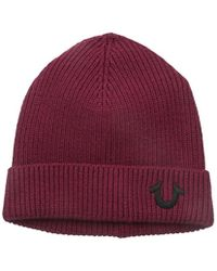 True Religion - Red Ribbed-knit Watch Cap for Men - Lyst