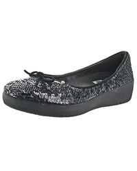 ecda53f6f Lyst - Fitflop Leather Superballerina Ballet Flat in Black