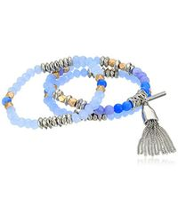 Kenneth Cole - True Blues Semiprecious Bead And Tassel Charm Stretch Bracelet - Lyst