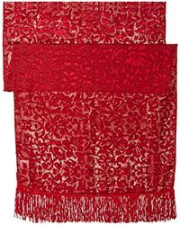 Betsey Johnson - Red Burnout Evening Wrap With Fringe - Lyst
