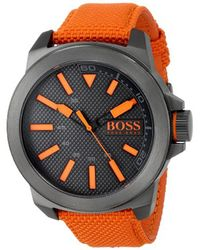 BOSS - Multicolor Boss Orange 1513010 New York Stainless Steel Watch With Orange Woven Band - Lyst