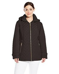 Calvin Klein - Black Plus-size Quilted Jacket With Hood - Lyst