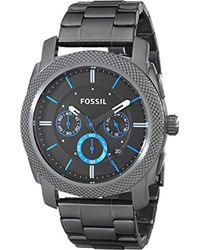 Fossil - Metallic 45mm Machine Chronograph Watch In Smoke With Blue Accents for Men - Lyst