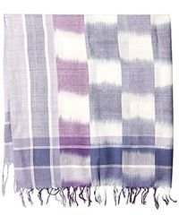 La Fiorentina - Blue Plaid Checkered Scarf With Fringe - Lyst
