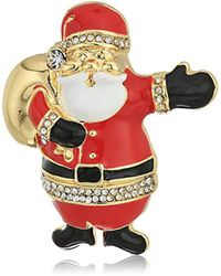 Napier - Metallic Gold-tone And Multi Santa Clause Brooch And Pin - Lyst