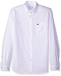 Lacoste White Long Sleeve Solid Washed Pique Collar Regular Fit Woven Shirt, Ch5010 for men