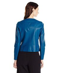Anne Klein - Blue Zip-front Leather Jacket - Lyst