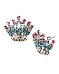 """Betsey Johnson - Multicolor """"princess Charming"""" Pave Crown Stud Earrings - Lyst"""