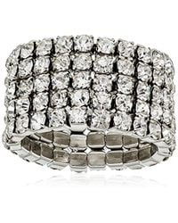 """Guess - Metallic """"basic Look Of 4 Band Chevron With Stones Ring, Size 7 - Lyst"""