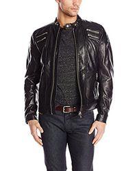 DIESEL - Black L-neilor Leather Jacket, , Large for Men - Lyst