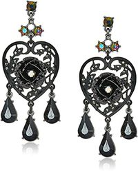 Betsey Johnson - Roses Hematite And Black Stone Chandelier Drop Earrings - Lyst