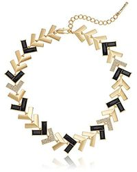 T Tahari - Metallic Chevron Chic Jet Cry Collar Necklace - Lyst