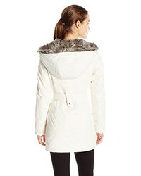 Kensie - White Polyester-filled Belted Parka - Lyst